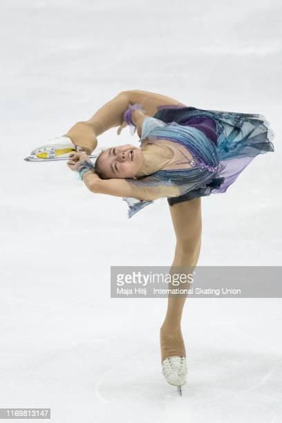 Kamila Valieva of Russia perform during Junior Ladies Free Skating during the ISU Junior Grand Prix of Figure Skating Grand Prix de Courchevel at on...