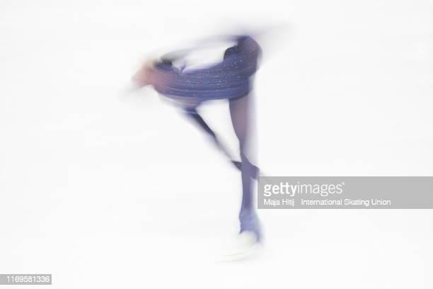 Kamila Valieva of Russia performs during Junior Ladies Short Program at the ISU Junior Grand Prix of Figure Skating Grand Prix de Courchevel on...