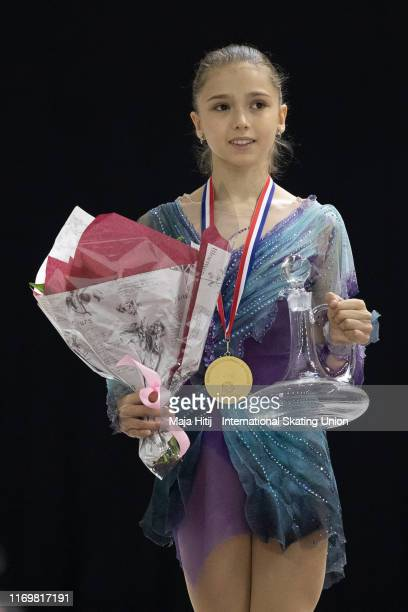 Kamila Valieva of Russia poses during a medal ceremony after Junior Ladies Free Skating during the ISU Junior Grand Prix of Figure Skating Grand Prix...