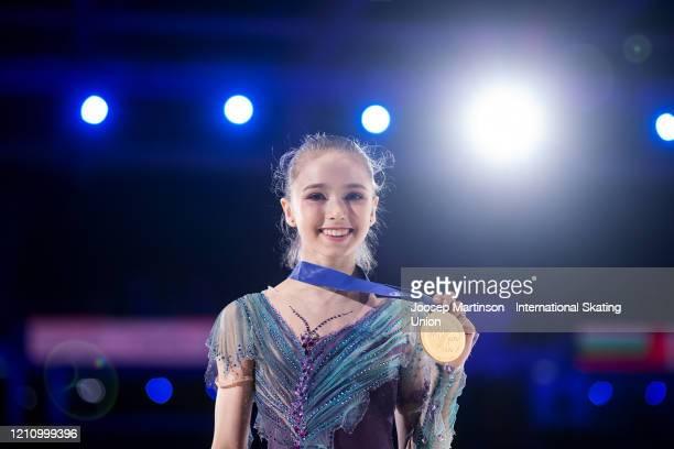 Kamila Valieva of Russia poses in the Junior Ladies medal ceremony during day 4 of the ISU World Junior Figure Skating Championships at Tondiraba Ice...