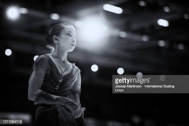Kamila Valieva of Russia prepares in the Junior Ladies Free Skating during day 4 of the ISU World Junior Figure Skating Championships at Tondiraba...