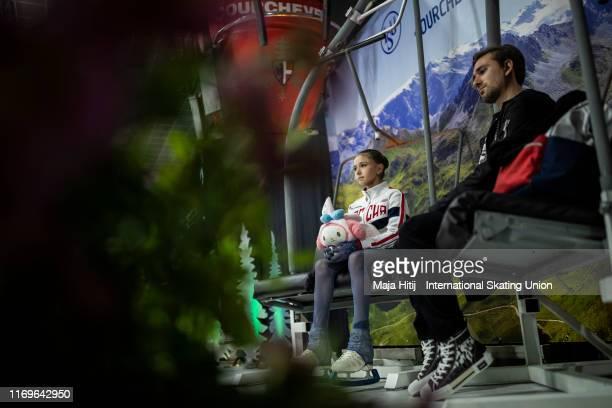 Kamila Valieva of Russia wait for results during Junior Ladies Short Program at the ISU Junior Grand Prix of Figure Skating Grand Prix de Courchevel...