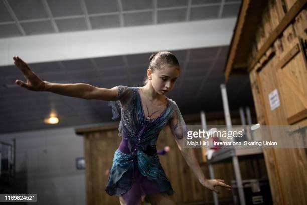 Kamila Valieva of Russia warms up prior to Junior Ladies Free Skating during the ISU Junior Grand Prix of Figure Skating Grand Prix de Courchevel at...