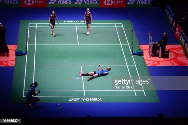 Kamilla Rytter Juhl and Christinna Pedersen of Denmark celebrate after beating Yuki Fukushima and Sayaka Hirota of Japan in the women's single final...