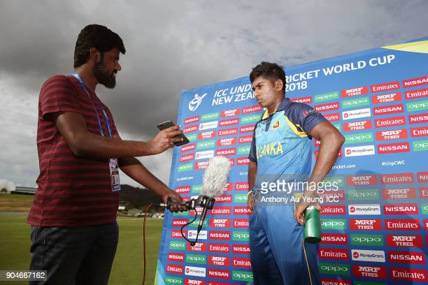 Kamindu Mendis is interviewed after the ICC U19 Cricket World Cup match between Sri Lanka and Ireland at Cobham Oval on January 14 2018 in Whangarei...