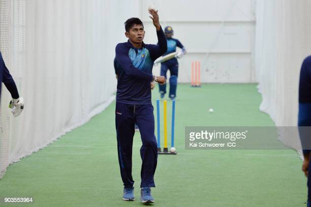 Kamindu Mendis looks on during a Sri Lanka ICC U19 Cricket World Cup Training Session on January 11 2018 in Lincoln New Zealand