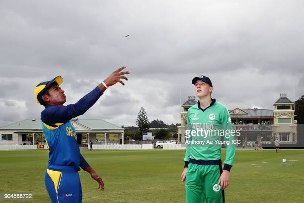 Kamindu Mendis of Sri Lanka and Harry Tector of Ireland during coin toss prior to the ICC U19 Cricket World Cup match between Sri Lanka and Ireland...