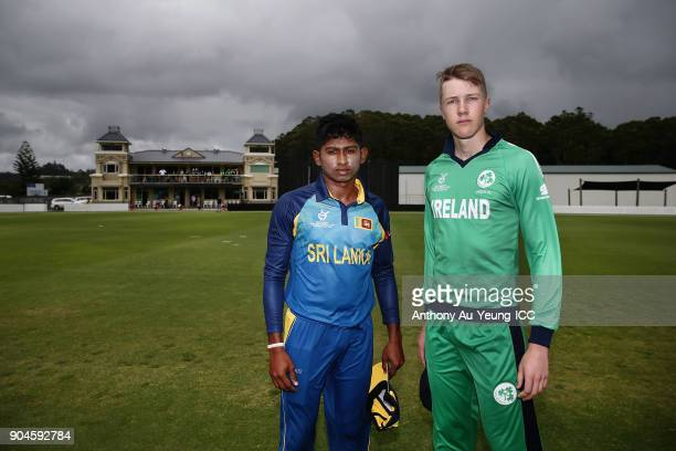 Kamindu Mendis of Sri Lanka and Harry Tector of Ireland pose for a photo prior to the ICC U19 Cricket World Cup match between Sri Lanka and Ireland...