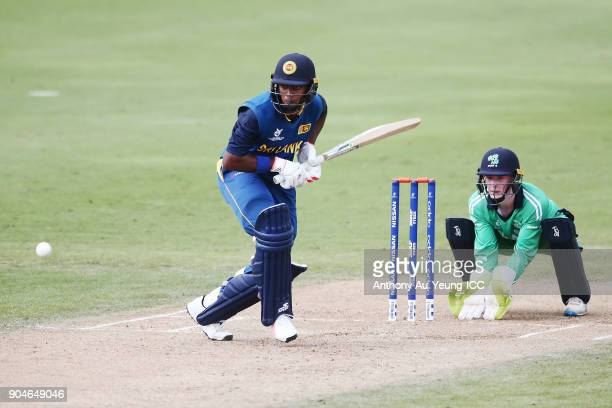 Kamindu Mendis of Sri Lanka bats during the ICC U19 Cricket World Cup match between Sri Lanka and Ireland at Cobham Oval on January 14 2018 in...