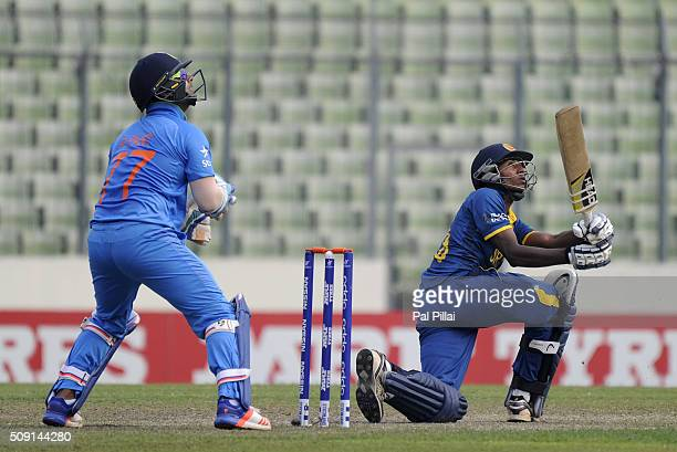Kamindu Mendis of Sri Lanka bats during the ICC U19 World Cup SemiFinal match between India and Sri Lanka on February 9 2016 in Dhaka Bangladesh