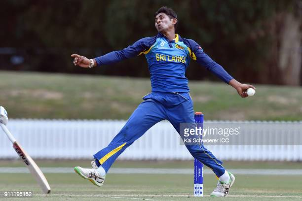 Kamindu Mendis of Sri Lanka bowls during the ICC U19 Cricket World Cup Plate Final match between Sri Lanka and the West Indies at Bert Sutcliffe Oval...