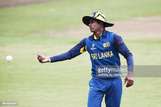 Kamindu Mendis of Sri Lanka fields the ball during the ICC U19 Cricket World Cup match between Sri Lanka and Ireland at Cobham Oval on January 14...