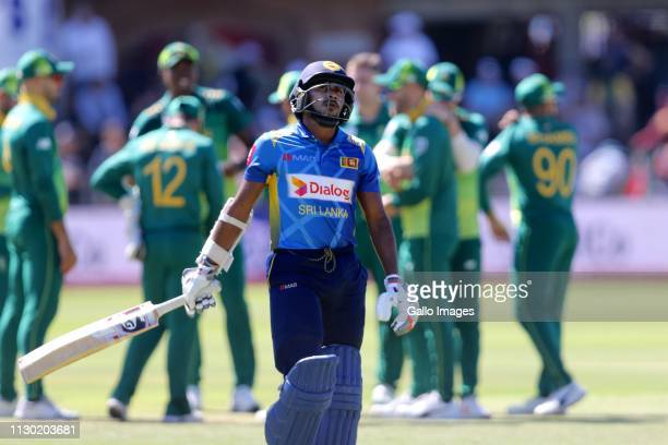 Kamindu Mendis of Sri Lanka leaves the field during the 4th Momentum ODI match between South Africa and Sri Lanka at St Georges Park on March 13 2019...