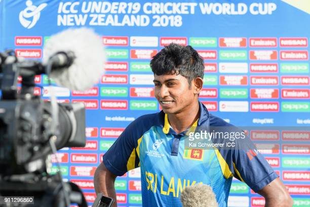 Kamindu Mendis of Sri Lanka speaks to the media after the win in the ICC U19 Cricket World Cup Plate Final match between Sri Lanka and the West...