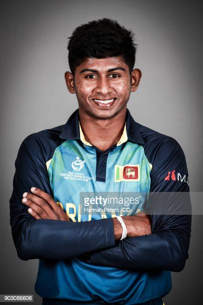 Kamindu Mendis poses during the Sri Lanka ICC U19 Cricket World Cup Headshots Session at Rydges Christchurch on January 8 2018 in Christchurch New...