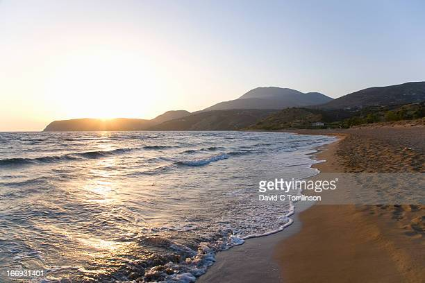 Kaminia beach at sunset, Skala, Kefalonia, Greece