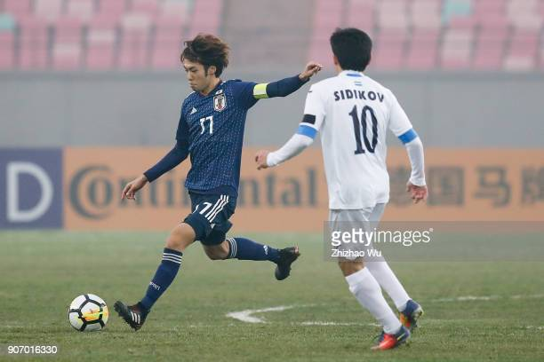 Kamiya Yuta of Japan in action during AFC U23 Championship Quarterfinal between Japan and Uzbekistan at Jiangyin Sports Center on January 19 2018 in...