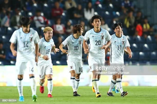 Kamiya Yuta of Japan U20 celebrates his goal with teammates during the M150 Cup 2017 between Thailand U23 and Japan U20 at IMobile Stadium on...
