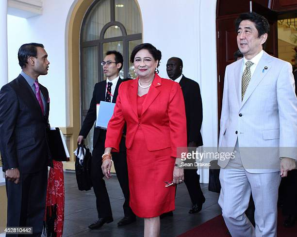 Kamla PersadBissessar Prime Minister of Trinidad and Tobago with Shinzo Abe Prime Minister of Japan during his visit at Diplomatic Center on July 27...