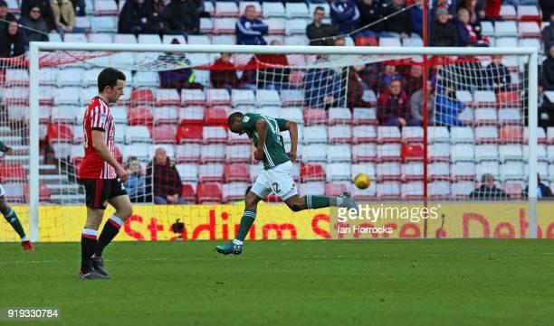 Kamo Mokotjo celebrates scoring the opening goal for Brentford during the Sky Bet Championship match between Sunderland and Brentford at Stadium of...