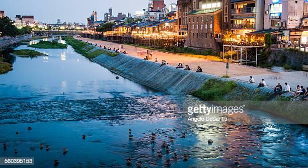 kamo river at dusk - fluss kamo stock-fotos und bilder