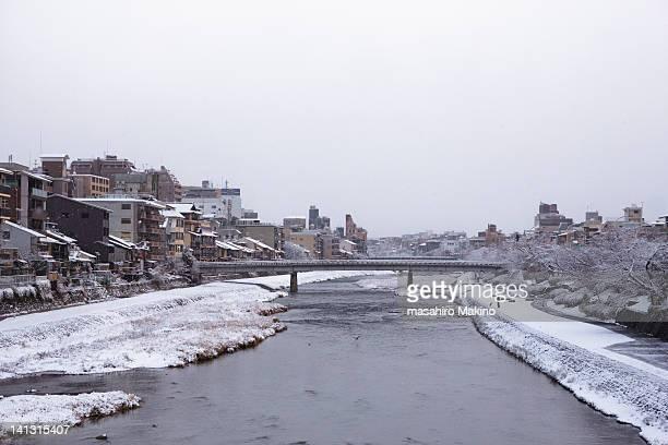 Kamo river in Snow