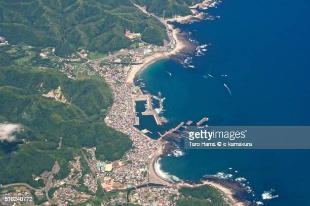 kamogawa city in chiba prefecture day time aerial view from airplane - chiba city stock pictures, royalty-free photos & images