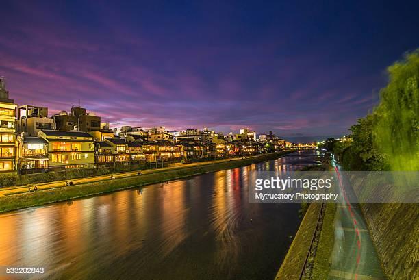 Kamogawa River by night