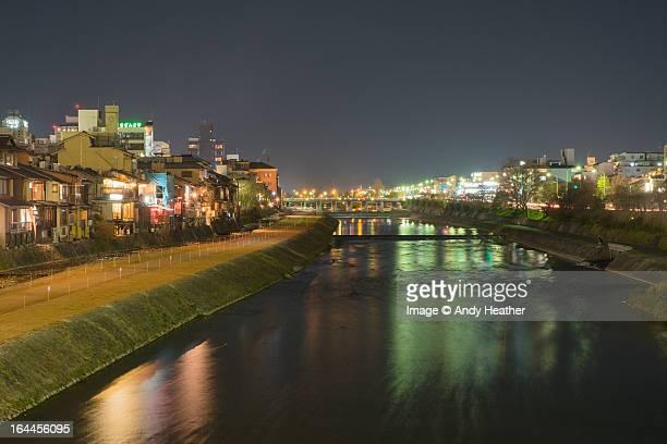 Kamogawa River in Kyoto by night
