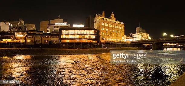 Kamogawa river in the night