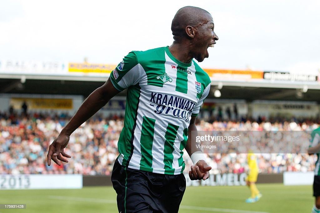 Kamohelo Mokotjo of PEC Zwolle during the Eredivisie match between Heracles Almelo and PEC Zwolle on August 10, 2013 at the Polman stadium at Almelo, The Netherlands.