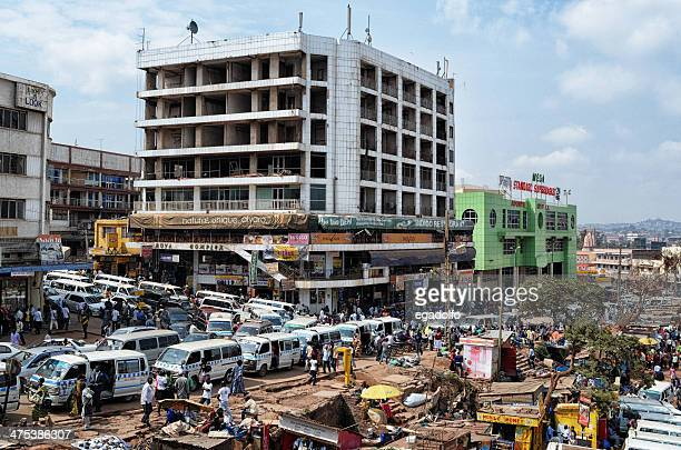 kampala: buildings around the central bus station - kampala stock pictures, royalty-free photos & images