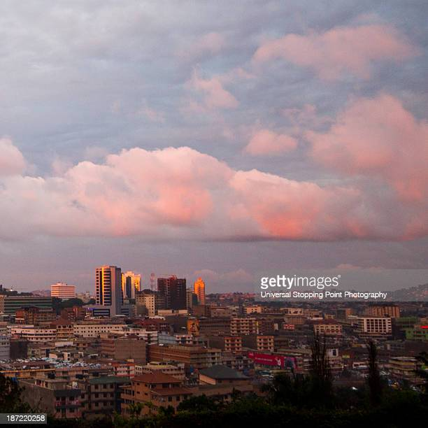 kampala skyline at sunset - kampala stock-fotos und bilder