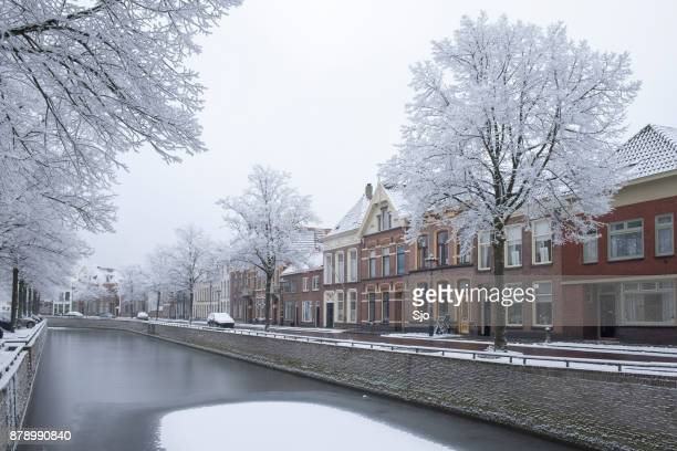 kampen burgel canal surrounded by frozen trees in winter - overijssel stock pictures, royalty-free photos & images