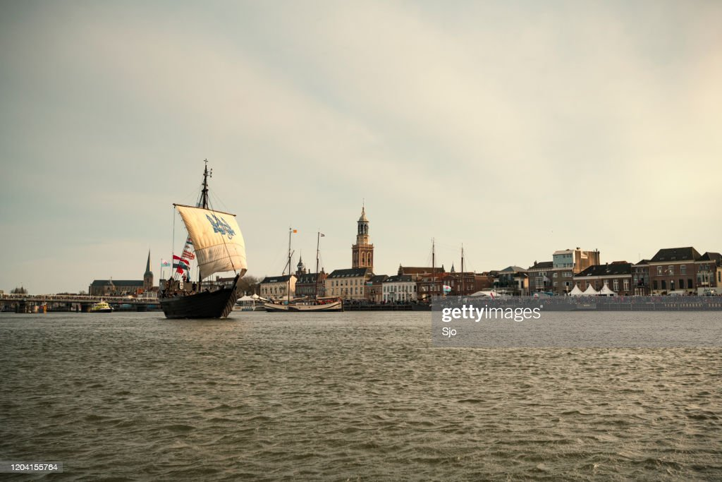 Kamper Kogge sailing ship at the river IJssel during the 2018 Sail Kampen event : Stock Photo