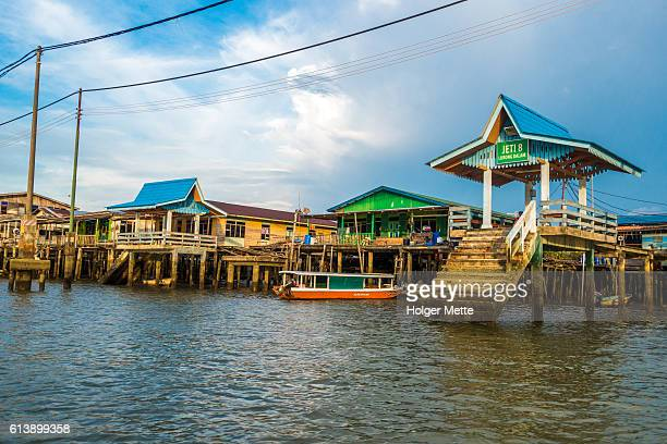 kampong ayer  floating village in brunei - bandar seri begawan stock photos and pictures