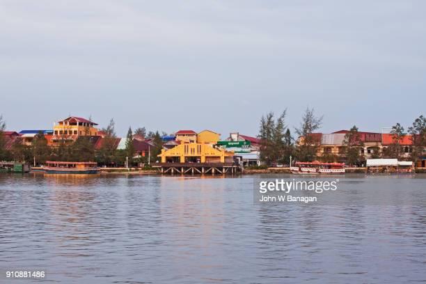 Kampot town on the Preaek Tuek Chhu river, Cambodia