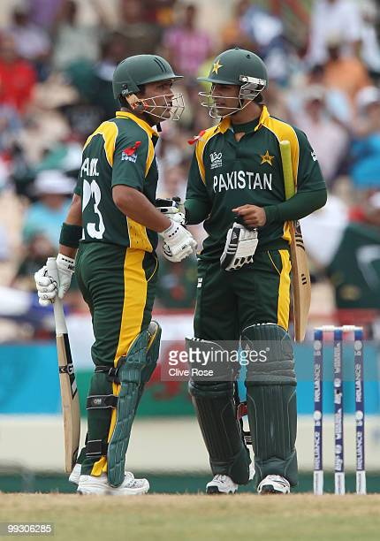 Kamran Akmal and Salman Butt of Pakistan look on during the ICC World Twenty20 semi final between Australia and Pakistan at the Beausjour Cricket...