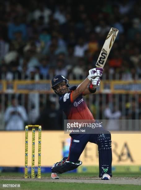 Kamran Akmal of Maratha Arabians bats during the T10 League match between Maratha Arabians and Pakhtoons at Sharjah Cricket Stadium on December 14...