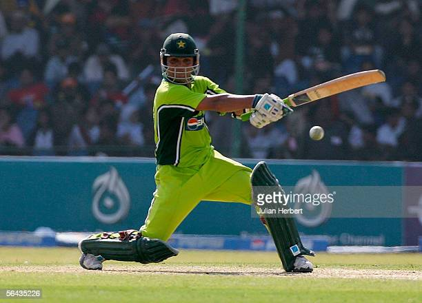 Kamran Akmal of Pakistan bats during the 3rd One Day International between Pakistan and England played at The National Stadium on December 15 2005 in...