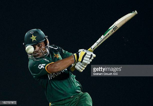 Kamran Akmal of Pakistan bats during the Group D match between Pakistan and Bangladesh at Pallekele Cricket Stadium on September 25 2012 in Kandy Sri...
