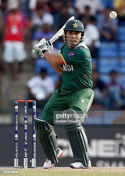 Kamran Akmal of Pakistan bats during the ICC World T20 Group D match between New Zealand and Pakistan at Pallekele Cricket Stadium on September 23...