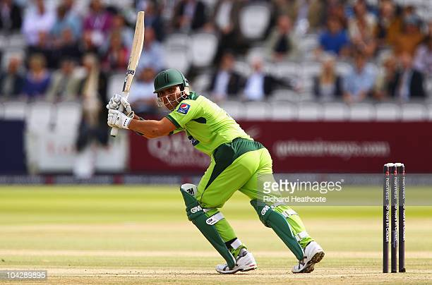 Kamran Akmal of Pakistan hits out during the 4th NatWest One Day International between England and Pakistan at Lord's on September 20 2010 in London...