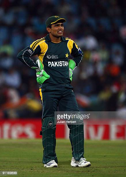 Kamran Akmal of Pakistan looks despondent during The ICC Champions Trophy Group A Match between India and Pakistan on September 26 2009 at The...