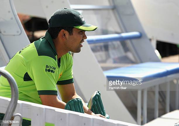 Kamran Akmal of Pakistan looks on during the One Day Tour Match between Somerset and Pakistan played at The County Ground on September 2 2010 in...