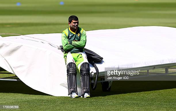 Kamran Akmal waits to bat during a nets session at The Kia Oval on June 5 2013 in London England