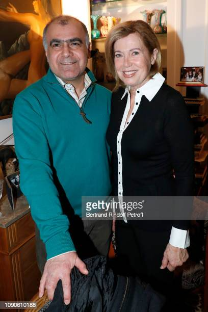 Kamran and Catherine Alric attend Yanou Collart receives her friends for the Galette des Rois in Paris on January 06 2019 in Paris France