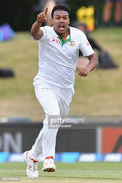 Kamrul Islam Rabbi of Bangladesh celebrates after dismissing Kane Williamson of New Zealand during day two of the Second Test match between New...