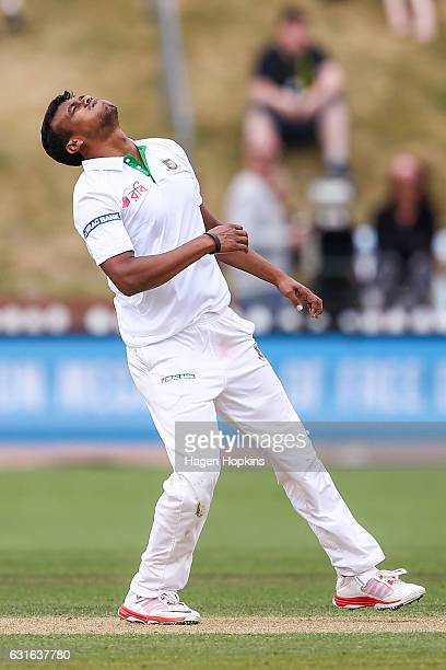 Kamrul Islam Rabbi of Bangladesh reacts after bowling during day three of the First Test match between New Zealand and Bangladesh at Basin Reserve on...