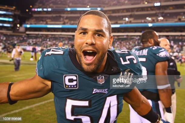 Kamu GrugierHill of the Philadelphia Eagles celebrates defeating the Atlanta Falcons 1812 at Lincoln Financial Field on September 6 2018 in...